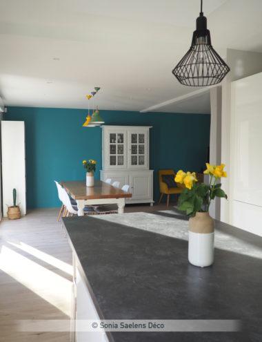 Comment créer une ambiance moderne et colorée dans un salon séjour avec cuisine ouverte